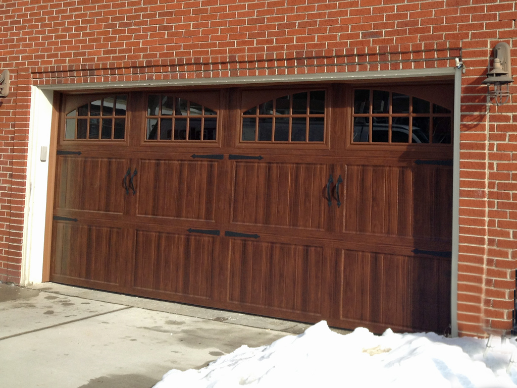 Amarr Cortona walnut finish. Amarr Cortona walnut finish   Mount Garage Doors   Westminster