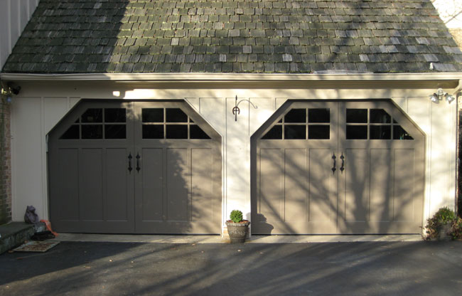 Artisan Door with Custom Dutch Corners & Carriage Doors - Wood - Mount Garage Doors - Westminster Maryland